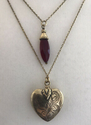 Pilgrim Vintage Style Double Layer Locket Necklace With Heart Inside
