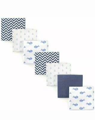 Hudson Baby Boy/Girl Flannel Receiving Blankets, 7-Pack, Blue Whales Anchors
