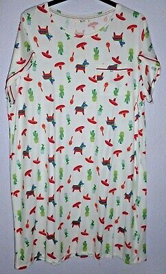 BNWT Gorgeous Women's TU Mexican Themed White Patterned Nightdress UK Size 24