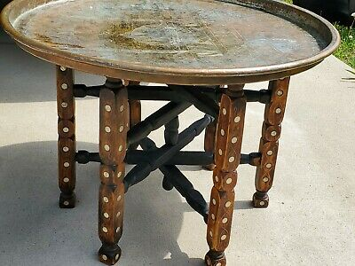 Antique Middle Eastern COPPER TRAY TABLE mother pearl inlay Embossed Detail 24""