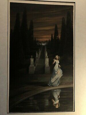Rare Signed Pulp Illustration Art Painting Paperback Cover 1974 by Walter Popp