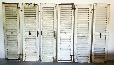 Antique French shutters, louvred vintage shutters, chippy paint, shabby chic.