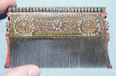 Fine Antique 19th Century Hand Carved Indian Hair Comb - Gujarat, India - Kutch