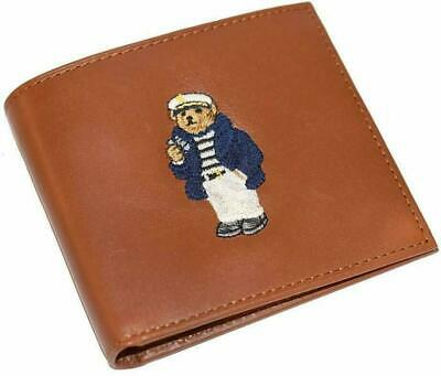 Polo Ralph Lauren Mens Wallet Lambskin Bifold Brown Bear