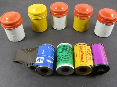 5 Vintage Kodak Metal 35 mm Film Canisters Lot Red White Yellow 4 Film A8580