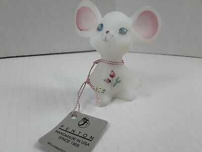 Fenton Satin Glass Mouse - Roses -  Hand Painted - C. Griffiths