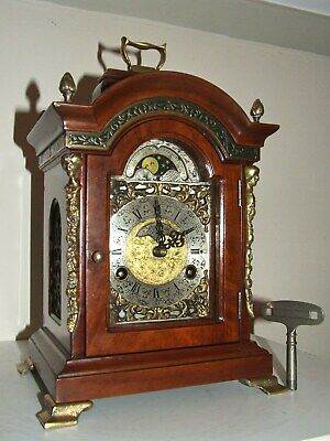 English/Dutch 8 day Warmink Bracket Clock Moon phase,2 bells,Pendulum Movement