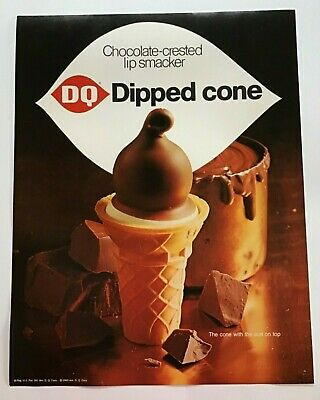 Vintage Original Dairy Queen Dipped Cone 1969 DQ Advertisement Sign