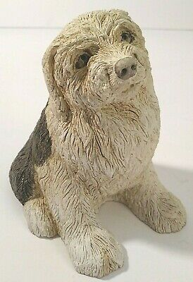 """Marty Sculpture Sitting Old English Sheepdog 4.5"""" Tall"""