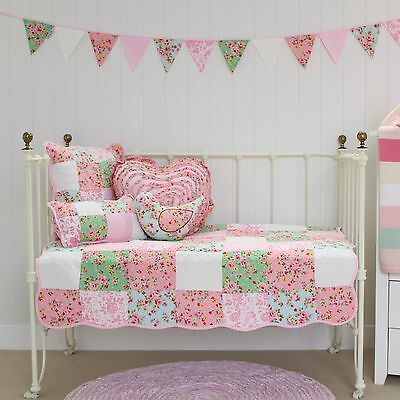 5 pce Pink Floral Patchwork Baby Girls Alice Cot Quilt Coverlet & 4 Cushions