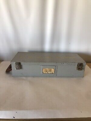 Vintage Metal Office Payroll Cash or Check Box Leather Side Handle