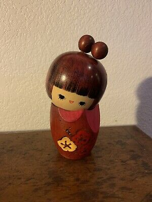 Vintage 60s KOKESHI Japanese Wooden Carved Traditional Doll