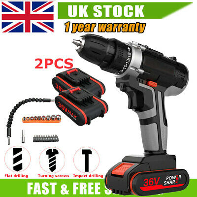 Cordless Combi Hammer Impact Drill Driver Electric Screwdriver & 2 Batteries 36V