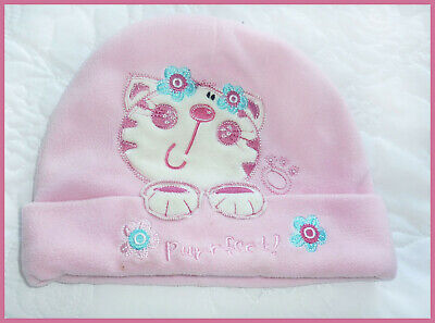 Baby Girls Pink a Fleece Hat with Cat Motif age 12-24 Months