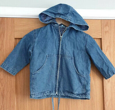 Girls Demin Jacket Size Floral Lining Hood Size 2-4 Years MONSOON C397