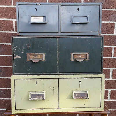 Vintage 2 Drawer Metal Card File Stackable Cabinet – Set of 3