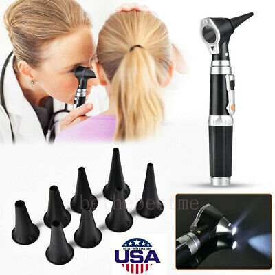 LED Otology Otoscope Fiber Optic Medical Endoscope Kit Ear Camera Scope Earwax