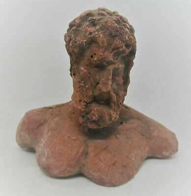 Rare Ancient Greek Terracotta Bust Statue Fragment Of Zues