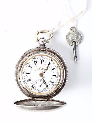 RARE antique English silver pocket watch Monopole 0.800 KEY WIND OTTOMAN/TURKEY