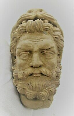 Rare Ancient Greek Terracotta Head Statue Fragment Male Head Circa 200 Bc