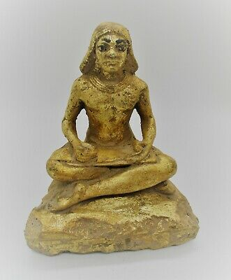 Ancient Egyptian Stone Gold Gilded Seated Servant Figurine Circa 300 Bce