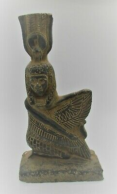Scarce Circa 500Bce Ancient Egyptian Black Glazed Stone Winged Isis Statuette