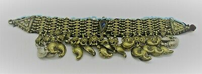 Beautiful Old Antique Islamic Near Eastern Silvered Belt With Shaped Stone
