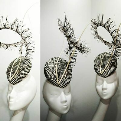 Black & off white buntal base with pheasant feather & twisted quills fascinator