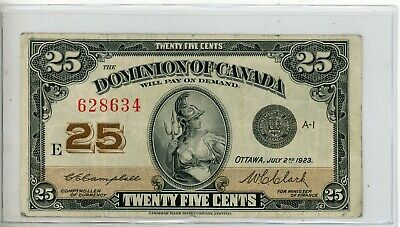 1923 Dominion of Canada 25 Cents Bank Note # 634