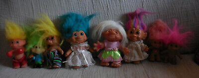 Lot of Eight (8) Assorted Vintage Troll Dolls