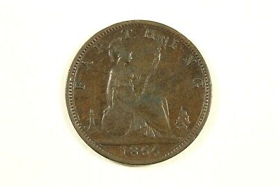 One 1866 Great Britain  Bronze Farthing Km#747.2 Very Fine Circulated