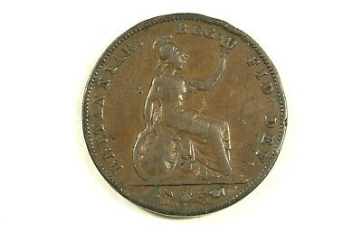 One 1838 Great Britain  Bronze Farthing Km#725   Fine Details  Circulated