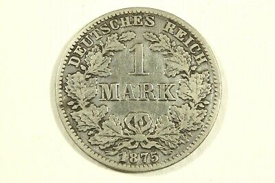 One 1875 C   German  1 Mark  90% Silver Kp#7  Average   Circulated Condition