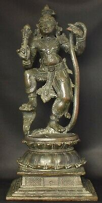 Krishna dancing on Kaliya Hindu God antique 12 inches 30 cm