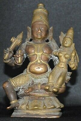 Siva Parvati seated Ganga Jamuna technique 3.5 inches 9 cm antique