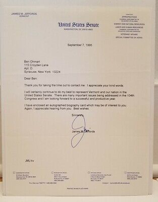 "James M. Jeffords Typed Letter 8.5"" X 11"" Signed Autographed 09/07/1995"