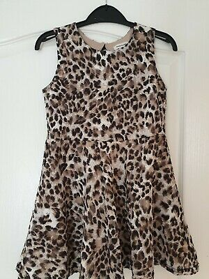 Girls River Island Dress Age 7-8 yrs, brown animal print