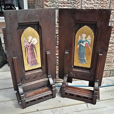 Stunning 18th Century  Church  Wooden Shelfs Religious  Angel Inserts LARGE