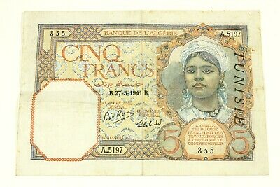 ONE 1941 TUNISIA 5 FRANC NOTE KP#8b NICE AVERAGE CIRCULATED CONDITION
