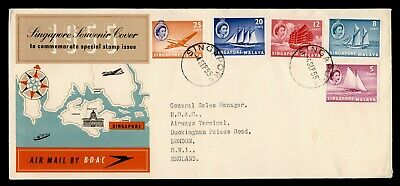 Dr Who 1955 Singapore To Gb Transportation Qe Ii Fdc C187953