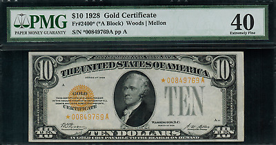 1928 $10 Gold Certificate FR-2400* - Star Note - Graded PMG 40 - Extremely Fine
