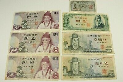 Seven South Korea Notes From 1962-1965-1973 Average Circulated Condition