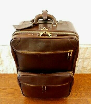 Mulholland Holland Brothers Chocolate Brown Leather Rolling Carry On Suitcase