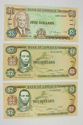 Three Jamaica Uncirculated Notes (2) 2 Dollar Notes, (1) 5 Dollar Note