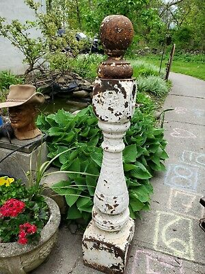 Antique horse Hitching Post with finial 48 inces tall architectural salvage