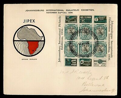 Dr Who 1936 South Africa Jipex Philatelic Exhibition S/S Fdc C188383