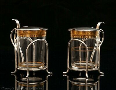 Rare Pair of Hukin & Heath Solid Silver & Gilt Glass Toddy Cups London 1907