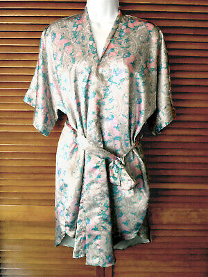"Kathryn Floral Design Short Wrap Robe, Nwot, Bust Up To About 45"", Sz S"