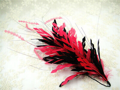 Goose Twisted Mount Stripped Coque Millinery Hat Fascinator Trim Peacock Feather