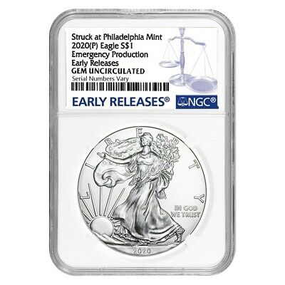2020 (P) 1 oz Silver American Eagle NGC Gem Unc ER Emergency Production
